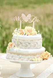 Burlap And Lace Wedding Cake Idea With We Do Topper From For Love Polka