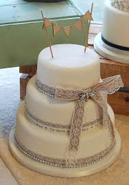 Hessian And Lace Rustic Vintage Wedding Cake