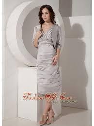 Gray Column Sheath V Neck Mother Of The Bride Dress Taffeta Ruched Tea