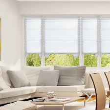 Cordless Pleated Shades Windows Fabric Blackout Light Filtering