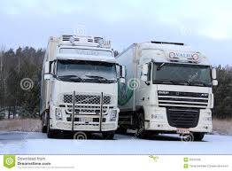 Volvo FH And DAF XF Trucks In Winter Snow Editorial Photo - Image Of ...
