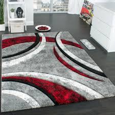 designer teppich streifen modell grau rot