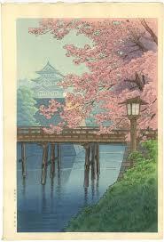 Ito Yuhan Japanese Woodblock Print Castle Blossoms 1930s