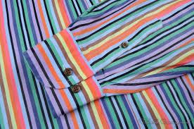 etro multi color bold striped 100 cotton mens luxury dress shirt