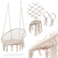 divolio hängesessel dv 036hns catania bis 120kg 2 stahlringe geflochte fransen schwebesessel hängestuhl hängekorb schaukel indoor und outdoor