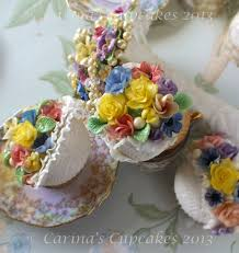 English Country Garden Cupcakes Fantasy Flowers On White