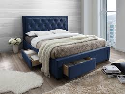 polsterbett mit lattenrost und stauraum samt leopold 160x200cm blau