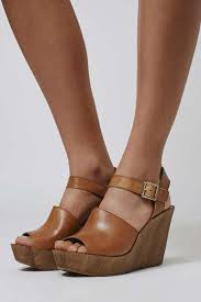 topshop willow two part wedge sandal in brown lyst