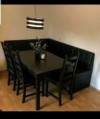 essecke lederbank schwarz tisch stühle