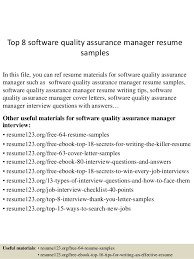 Top 8 Software Quality Assurance Manager Resume Samples In This File You Can Ref