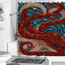 mosaic octopus shower curtain from pakpung on Etsy