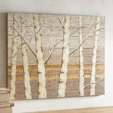 Metallic Birch Trees Wall Art