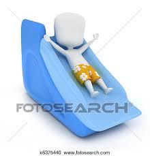 3D Illustration Of A Kid Sliding Down