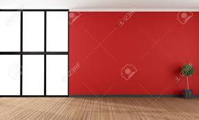leere rote wohnzimmer mit großen fenster 3d rendering