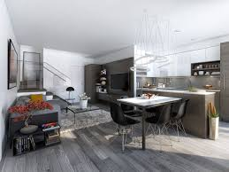 Modern Kitchen Booth Ideas by Apartment Apartment Design With Integrated Kitchen And Living