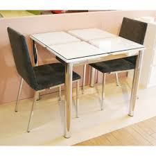 Dining Table Made Of Glass Width 80 Cm White Cafe Tables Room Two People For 2