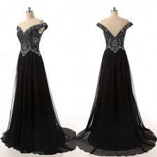 Charming Prom DressOff Shoulder DressBlack Evening DressBeading Gown