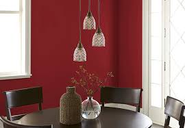 Dining Room With Red Wall