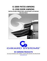 G-2000 Patio Awning & G-1500 Door Awning Manual – Girard RV ... How To Operate An Awning On Your Trailer Or Rv Youtube To Work A Manual Awning Dometic Sunchaser Awnings Patio Camping World Hi Rv Electric Operation All I Have The Cafree Sunsetter Commercial Prices Cover Lawrahetcom Quick Tips Solera With Hdware Lippert Components Inc Operate Your Howto Travel Trailer Motor Home Carter And Parts An Works Demstration More Of Colorado