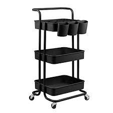 alvorog rollwagen küchewagen allzweckwagen servierwagen roll regal für küche bad büro mit rollen 3 etagen schwarz