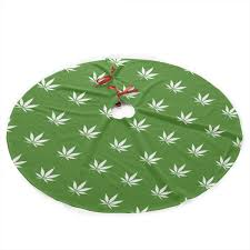 Amazoncom COJOP Marijuana Leaf Christmas Tree Skirt Classic