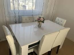 esszimmer tisch 6 stühle strass schwarz weiß gardinen