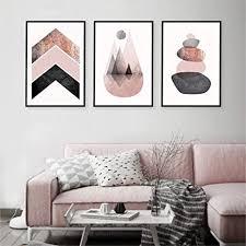 hmotr skandinavische drucke rosa grau gold poster chevrons berge steine leinwand malerei moderne abstrakte wand kunst wand dekor
