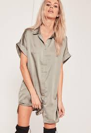 green oversized satin short sleeve shirt dress missguided