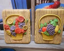 70s Kitchen Decor Homco Fruit Floral 3 D Wood Look Wall Plaques Very