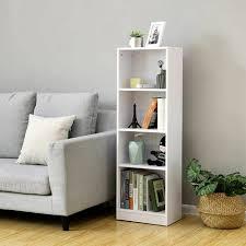 bücherregal mit 4 fächer verstellbare einlegeböden weißes regal aktenregal für wohnzimmer kinderzimmer und heimbüro 40 x 121 5 x 24cm b x h x t