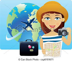 Young Woman Travelling Around The World Vector