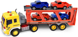 100 Truck Maxx Action Long Haul Vehicle Transport Playset With Realictic Push Button Lights And Sounds Includes 4 PickUp S