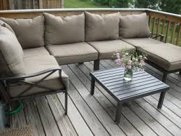 Mainstays Patio Furniture Manufacturer by Mainstays Sandhill 7 Piece Outdoor Sofa Sectional Set Seats 5