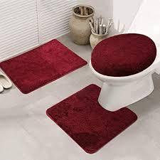 ele eleoption badezimmer set rutschfeste badematte und wc vorleger set schnelltrocknend weich wasserabsorbierend wc garnitur 3 teilig weinrot