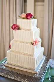 Square Textured Buttercream Wedding Cake