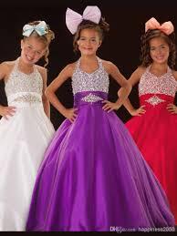 lovely purple white blue halter beads flower dresses girls