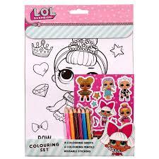 LOL Surprise Kids Arts Crafts 36 Pieces Colouring Set Artist Pad With Pencils Stickers Water Colour Paints