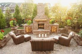 Outdoor Brick Fireplaces With Earthy Make Outdoor Brick Fireplace