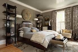 Cool Corner Curio In Bedroom Transitional With Taupe Walls Next To Grey Bedding Alongside Brown