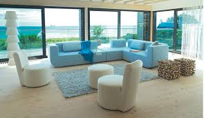 Interior Design Drawing Room Sofa Set Blue White Themed Colour Rectangular L Shaped Soft Comfortable Fluffy