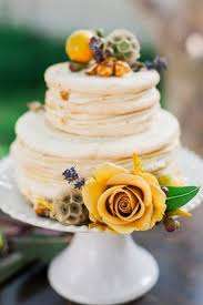 Rustic Wedding Cakes Small Naked With Yellow Roses Meganjoycakes Via Instagram