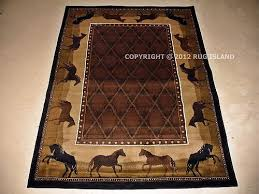 5x8 Lodge Cabin Western Southwestern Horses Animal Brown Black Decor Area Rug