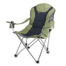 Folding Patio Chairs Amazon by Amazon Com Picnic Time Portable Reclining Camp Chair Black Gray