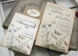 Vintage Wedding Invitations Rectangle Potrait Cream Black Beautiful Wording Perfect For A Garden Or Outdoor Lovely Butterfly Design In Pastel