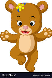 Cute Baby Bear Dancing Cartoon Vector Image