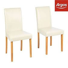 Home Pair Of Oak Stain Cream Leather Effect Mid Back Chairs From Argos On EBAY