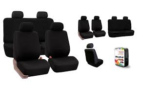 FH Group Universal Flat Cloth Fabric Car Seat Cover, Full Set, Black ...