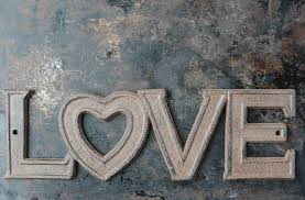 Download The Word Love On Rustic Metal Background Stock Illustration