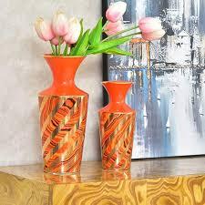 de vasen orange keramik wohnzimmer dekoration