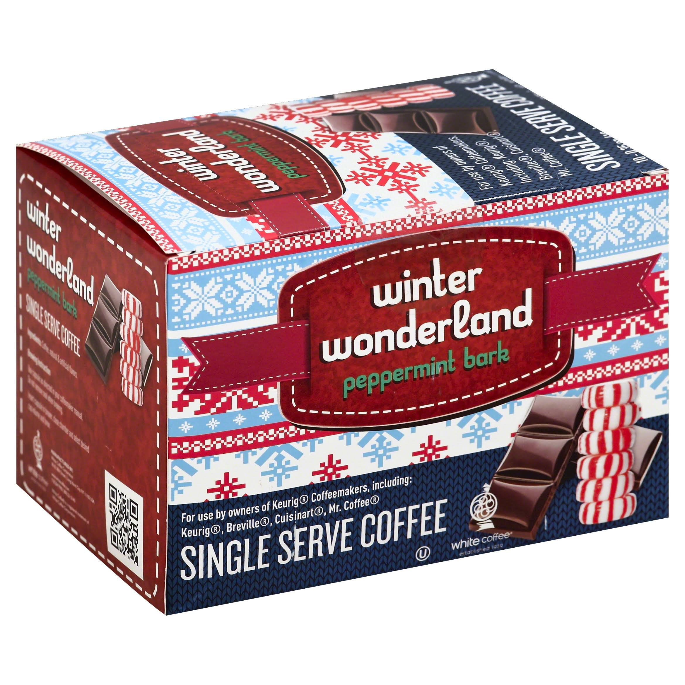 White Coffee Coffee, Winter Wonderland, Peppermint Bark, Single Serve Cups - 10 pack, 0.35 oz cups
